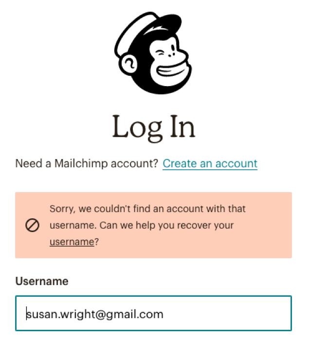 mailchimp login page