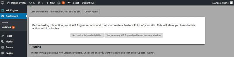 WPEngine backup prompt