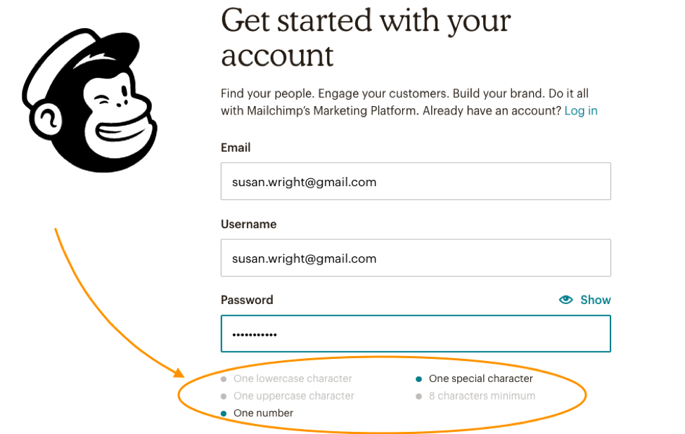 mailchimp sign up page