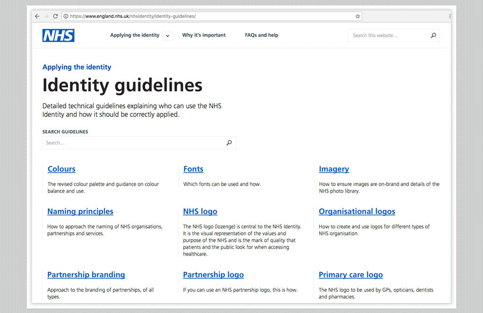 NHS identity guidelines 2017
