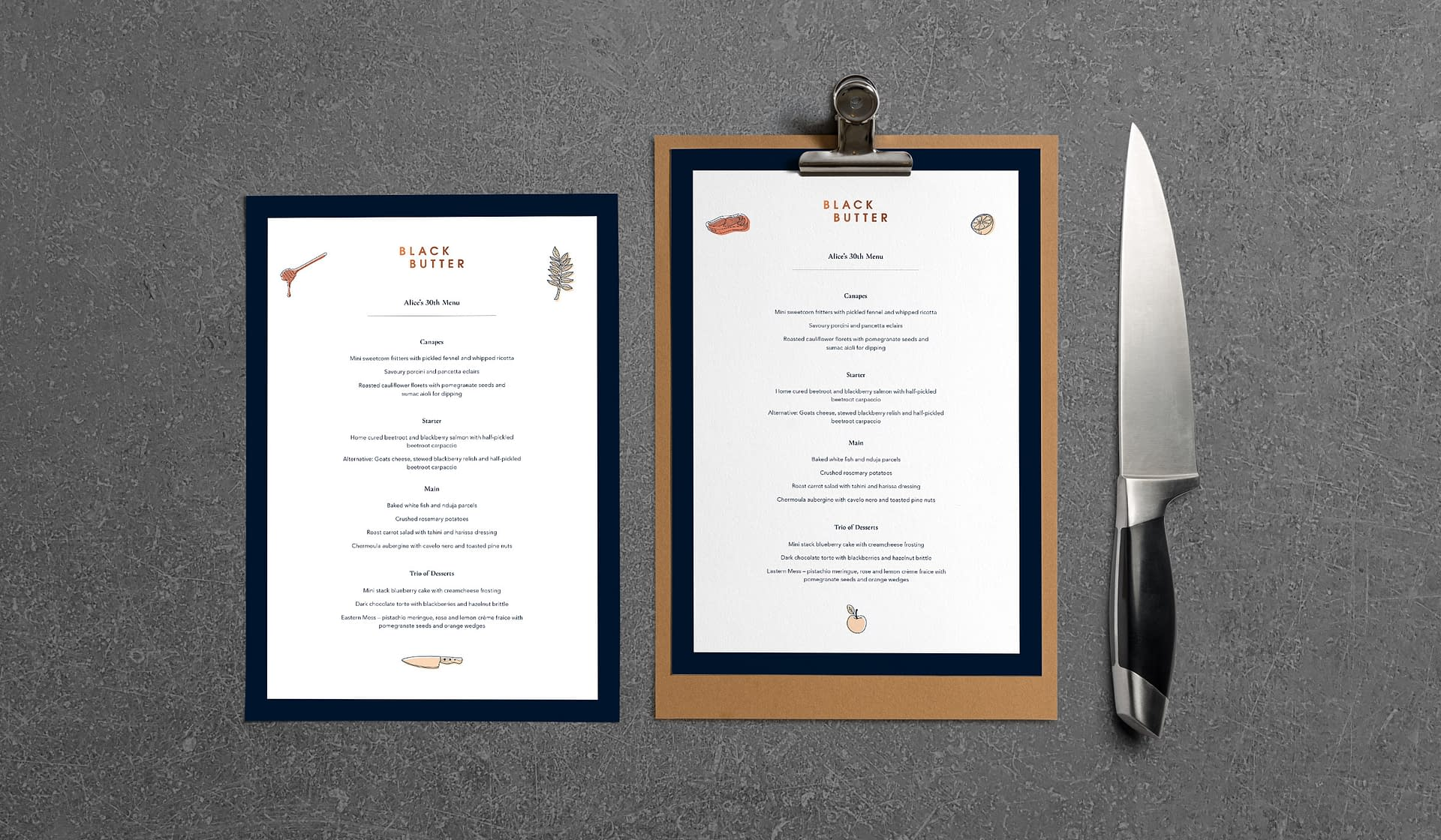 Black Butter menus